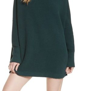 Free People Green Sweater Mock Neck Fall Knit